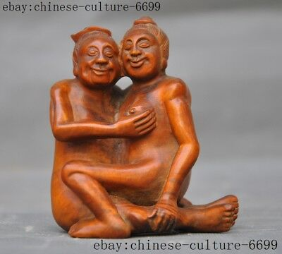 Rare old China Boxwood wood pure Hand carved Happy men and women Sex love statue