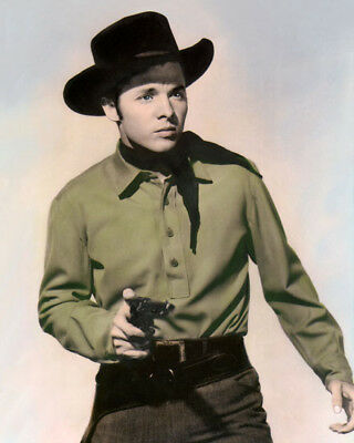 """AUDIE MURPHY THE CIMARRON KID 1952 8x10"""" HAND COLOR TINTED PHOTOGRAPH"""