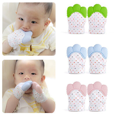 1/2PCS Silicone Baby Teething Mitt Teether Mitten Glove Safe Chew Dummy Toy Gift