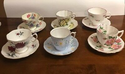 6 Different Tea Cup and Saucer Sets Royal Albert,Grafton,Windsor + More England