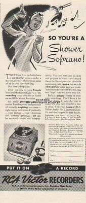 1939 RCA Victor Recorder Put It On Records Shower Saprano Recording Print Ad