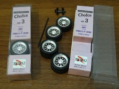 ~ 2 sets ~ Rosso 1/24 BBS F1 + Pirelli P Zero * 18 inch Tire & Wheel Set #23003