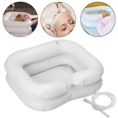 Portable Inflatable Hair Washing Basin Shampoo Handicap Hair Tray Bed Rest White