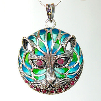 #P404 Grand Pendentif Chat Argent Massif 925 Rubis & Email