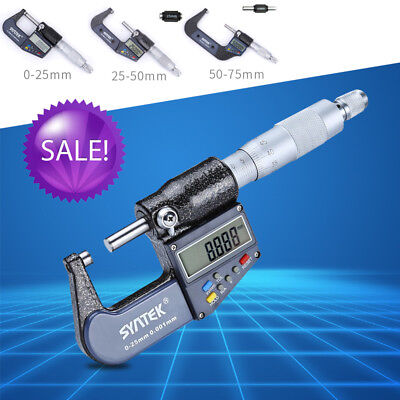 "0-25/50/75mm Digital Electronic Micrometer Outside 0-1/0.00005"" LCD Professional"