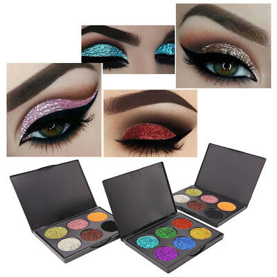 Diamond Glitter Eyeshadow Palette Shimmer Powder Eye Makeup Cosmetic 6 Colors