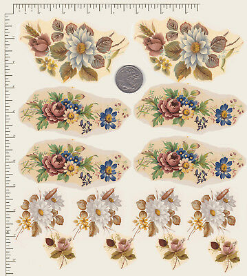 14 x Waterslide ceramic decals Spring Floral mix. White Flowers Pink Rosebuds S5
