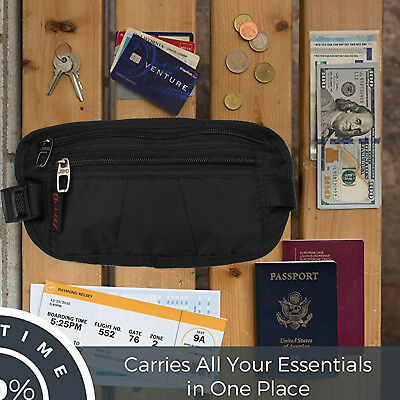 RFID Money Belt for Men and Women – Concealed Travel Wallet & Passport Holder