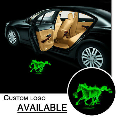 1set Led Car Auto Door Welcome Logo Green Horse Projector Ghost Shadow Light