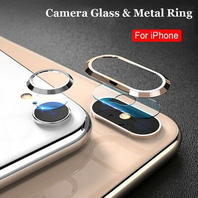 For iPhone XR XS Max Camera Lens Screen Tempered Glass Film Metal Protector Ring