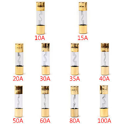AGU Fuse Car Audio Power Safety Protection Line Glass Tube Gold Plated 12V A1