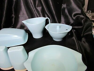 Retro Vintage Bessemer Ware Melmac Light Blue Table Set