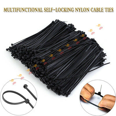 100/200/500/1000PCS Cable Ties Zip Ties Nylon UV Stabilised Bulk  Black Tie db