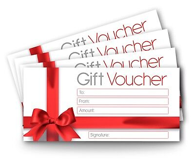 12 x Blank Gift Certificate Vouchers, DL Envelope Size, Generic Gift Card Red