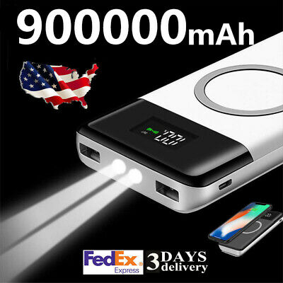 500000mAh Power Bank Qi Wireless Charging 2USB LED Display LED Light 2.1A Output