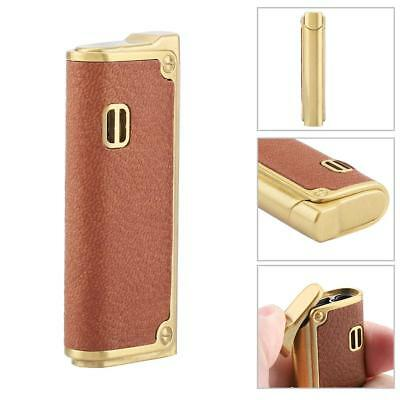 Windproof Metal Inflatable Butane Gas Lighter Cigarette Lighter PU Leather Cover