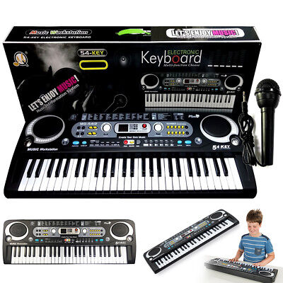 Digital 54 Keys Electronic Keyboard & Microphone Mic Electric LED Adult Size