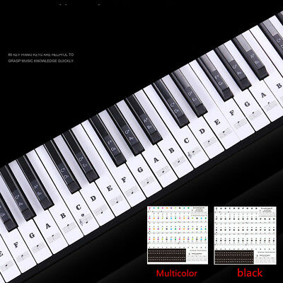 Keyboard or Piano LAMINATED Sticker Sets Educational Toys upto full size 88 keys