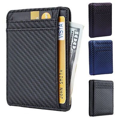 New  Leather Slim Card Holder Wallets For Men - Minimalist RFID Blocking