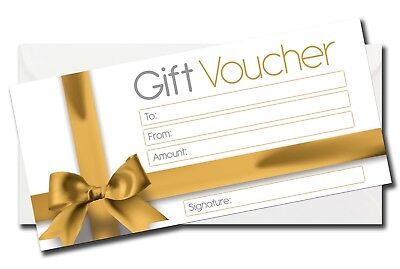 Luxury Blank Gift Voucher Certificate Generic Gift Card +  DL Envelope Gold Bow