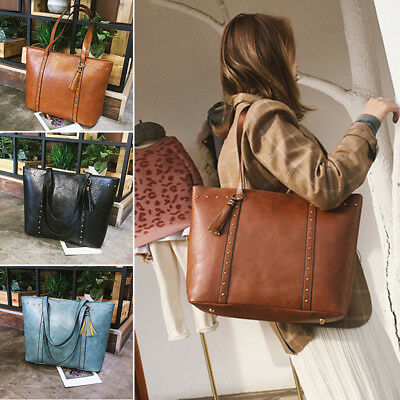 Women Handbag Shoulder Messenger Satchel Tote Crossbody Bags Zipper Big Soild