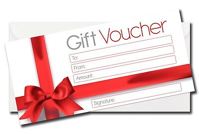 Luxury Blank Gift Voucher Certificate Generic Gift Card  Red Bow Design