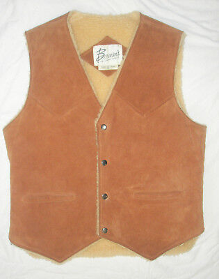 Vintage Mens Bermans Suede Vest With Faux Shearling Lining Size 40