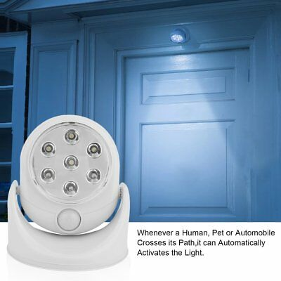 7LED Rotation Motion Activated Sensor Night Light Automatic Infrared Wall HOT F1