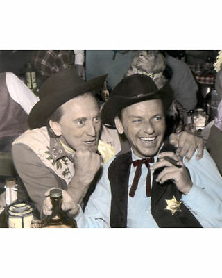 "KIRK DOUGLAS & FRANK SINATRA HOLLYWOOD ACTORS 8x10"" HAND COLOR TINTED PHOTOGRAPH"