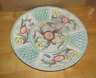H.J.Wood Burslem Plate England Hand Painted Raised Design Embossed Plate; 9""