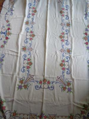 "102"" x 66"" Hand Embroidered Vtg Tablecloth Cross Stitch Flowers + 12  Napkins"
