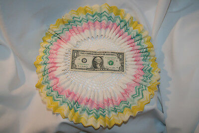 "Large Vintage Pink Yellow Green White Hand Crocheted Doilie Doily 14.5"" Diameter"
