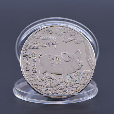 Year of the Pig Silver Plated Chinese Zodiac Souvenir Coin Collectibles GiftsHI