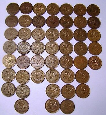 49 pc 1932-1957 Copper Pennies Canadian Small Cents Coins