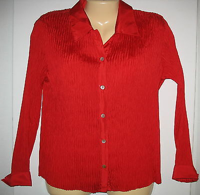 5d81253c5a94cd Jaipur - Red - 100% Silk - Long Sleeve - Button Down Stretchy Blouse -