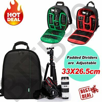 DSLR Camera Video Waterproof Backpack Shoulder Bag Case For Canon Nikon Sony ^#