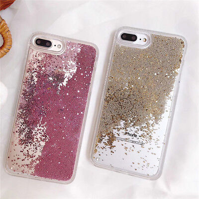 Flowing Liquid Bling Glitter Dynamic Quicksand Clear Cover Case for iPhone Xr Xs