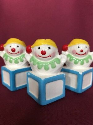 "Three Jack In The Box Vintage Ceramic Macrame 3"" Tall Beads"