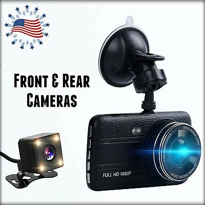 Dash Cam Kit Front & Rear  4'' LCD Screen ✫ FHD 1080P Video Front Cam Resolution