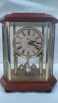 Vintage Hermle Quartz Wood Brass Lantern Anniversary Mantel Clock West Germany