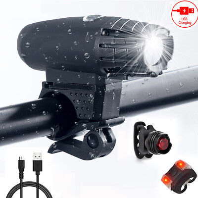Bicycle Front Rear LED Bike Light Rechargeable USB Cycling Headlight Tail Lights