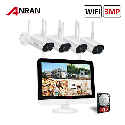 """8CH 1080P Security Camera System Wireless Outdoor with 12"""" Monitor WiFi NVR 1TB"""