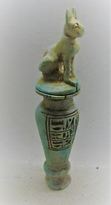 Beautiful Ancient Egyptian Glazed Faience Vessel With Bastet On Top