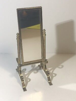 Vintage Dollhouse Miniature Standing Swivel Mirror Gold Metal
