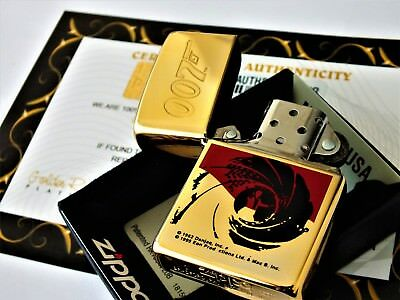 24Ct Gold Plated Zippo Refillable Rare Petrol Lighter James Bond 007 Gift Boxed