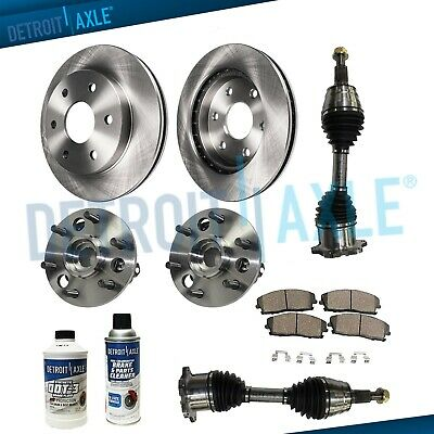 DRILLED FRONT BRAKE Rotors + Pads + Wheel Bearings + Axles 95-99