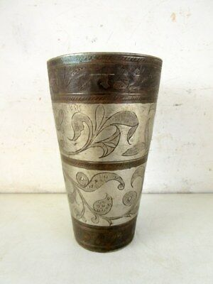 Vintage Old North Indian Brass Islamic Mughal Milk Drink Kitchenwere Pot Tumbler
