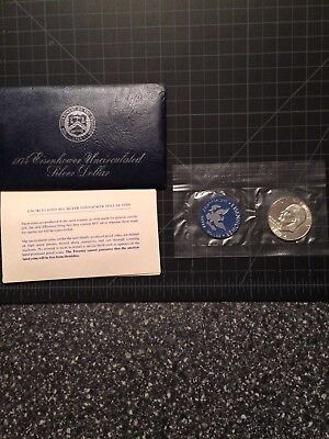 1973-S $1 Silver Ike Eisenhower Dollar Coin with COA and Blue Packaging