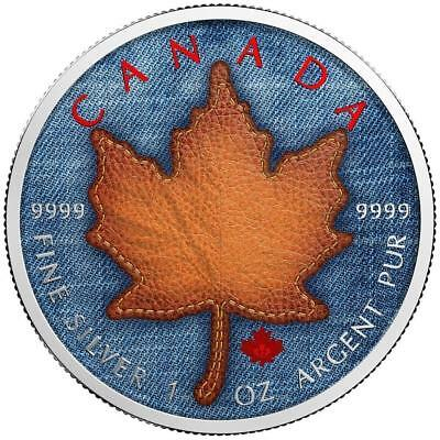 Canada 2017 5$ Dollars Maple Leaf Jeans Coloured 1 oz .999 Silver Coin