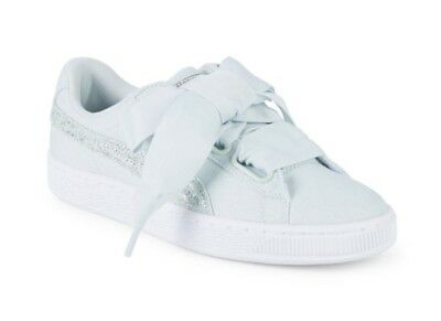 c6575d9a595302 NIB Puma Basket Heart Canvas   Glitter Lace Up Womens Sneakers~Blue size 7.5